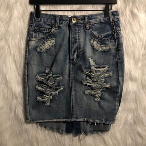 One Teaspoon High Waist Long Rise Distressed Mini